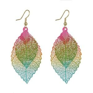 Multicolor leaf earrings